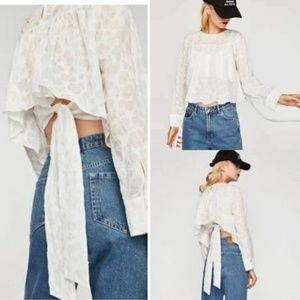 [Zara] White Polka Dot Top Tie Back Crop G157